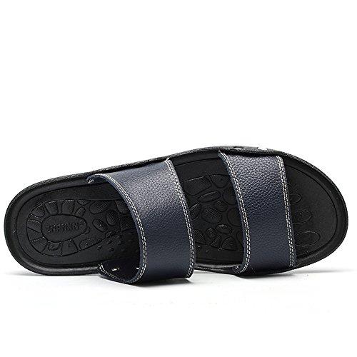 Gli Uomini Enllerviid Slip On Open Toe Sandali Con Ciabatte Pantofole Estate Casual Scarpe Da Spiaggia X002 Blu