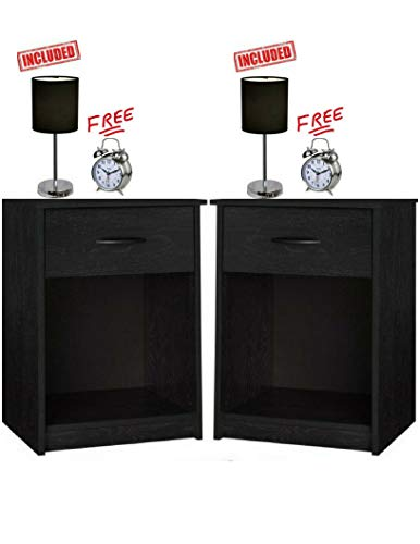 Set of 2 Nightstand End Tables, Bedroom Table Furniture in Ebony Finish with Set of 2 Lamp Bundle Set! -