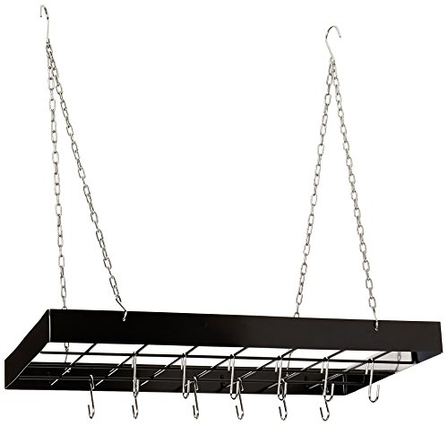 Fox Run 7801 Rectangle Pot Rack with Chains and Hooks, Black