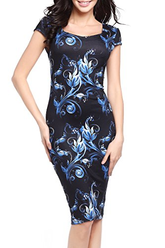 Stretch Slimming Casual Fitted Printed YMING 03 Dress Black M Bodycon Patterned Women's FxwqZFgY