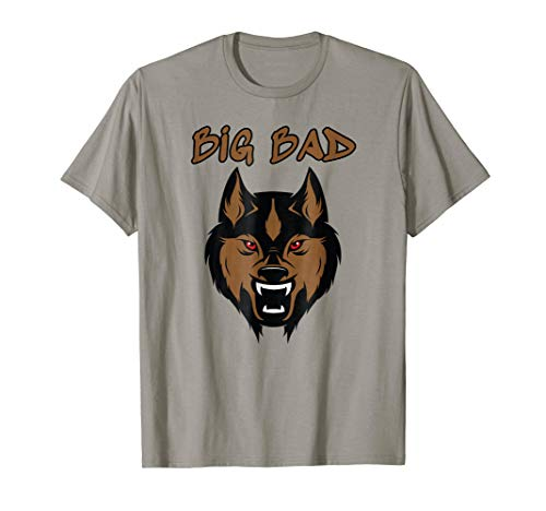 Big Bad Wolf Costume Boy Face Head Kids Halloween Gift Tee -