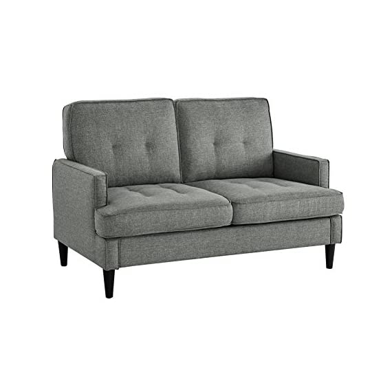 Dorel Living Marley Loveseat, Gray - Contemporary design Casual track Arm and tufting Easy-to-clean linen-look fabric - sofas-couches, living-room-furniture, living-room - 41g7czUgsJL. SS570  -