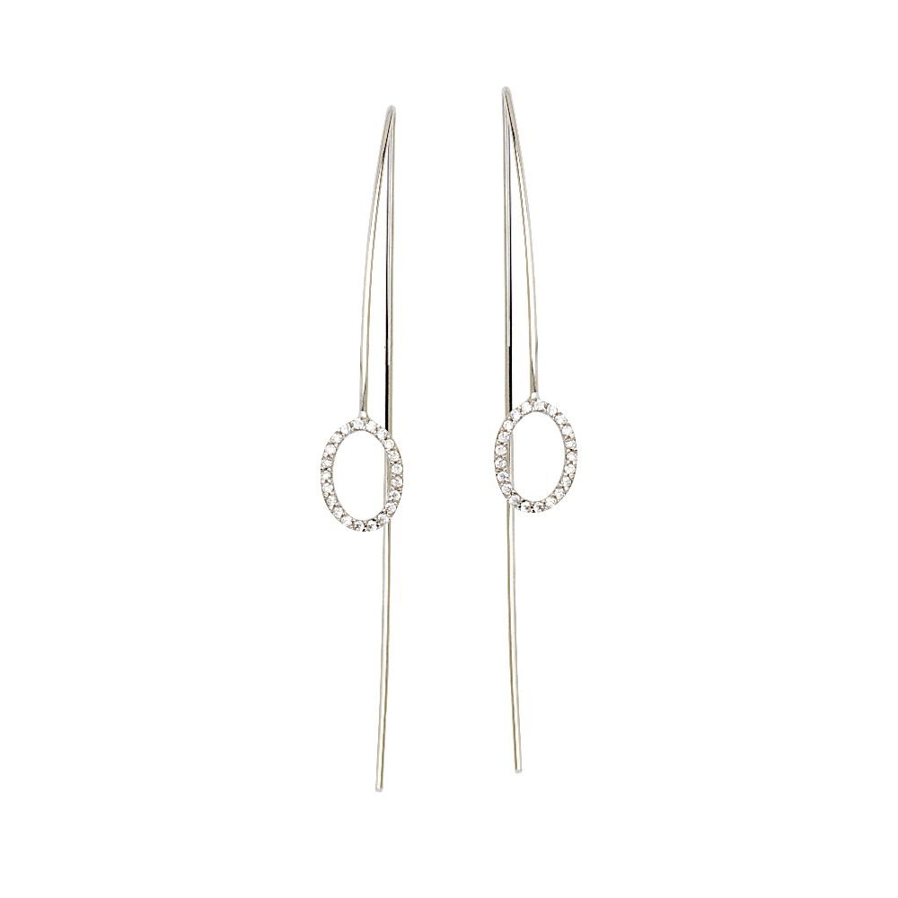 Sterling Silver Fancy Wire Oval CZ Element Earrings