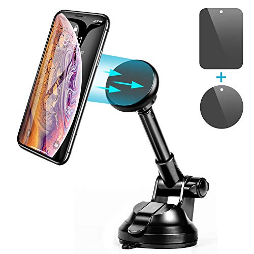 Amoner Magnetic Phone Holder, Universal Phone Mount Cell Phone Holder with 6 Strong Magnets and Metal Telescopic Arm for Car Dashboard Windshield Compatible with All Smartphones up to 6.5 inches