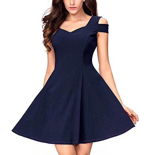 Womens Evening Party Dress, JOYFEEL Ladies❤️ Off Shoulder Cotton Cocktail Dress Solid Color Pleated Swing Mini Dress Navy