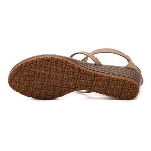 de Wedge Taille Grande Rome Métal Sandales 2018 Confortable en Chaussures Marron XIAOQI Femmes coréennes Nouvelles qBEwv0