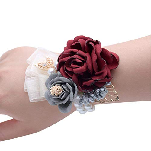 (Flonding Girl Bridesmaid Wrist Flower Corsage Bridal Bride Hand Wrist Band Flowers with Elastic Faux Pearl Bead Wristband for Wedding Prom Homecoming Party Decor (Burgundy, Pack of 1))