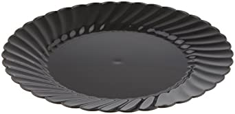 WNA CW75180BK Classicware Plastic Plates, 7 1/2 Inches, Black, Round (Case of 180)