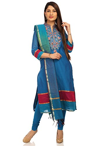 BIBA Women's Straight Poly Cotton Suit Set 42 Turquoise by Biba