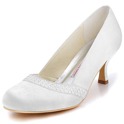 Elegantpark A0718 Mujer Talón Medio Fiesta Zapatillas Rhinestones Satén Nupcial Zapatos De Boda Blanco