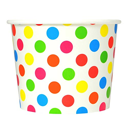 (Rainbow Paper Ice Cream Cups - 12 oz Polka Dotty Dessert Bowls -Perfect For Your Yummy Foods! Many Colors & Sizes - Frozen Dessert Supplies - Fast Shipping! 100 Count)