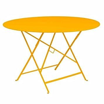 Table de jardin ronde pliante acier laqué BISTRO jaune 117cm (trou ...