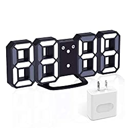 EVILTO 3D Digital Alarm Clock+ Charging Plugs,Modern Night Light Clock, Best Decorative LED Number Time Clock for The Wall, Table, Bedside, Desk. Modern Unique Design Alarm Clock £¨Black£