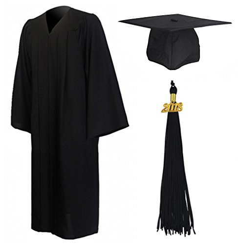 Graduationmall Matte Graduation Gown Cap Tassel Set 2018 For High School and Bachelor Black 45FF(5'0