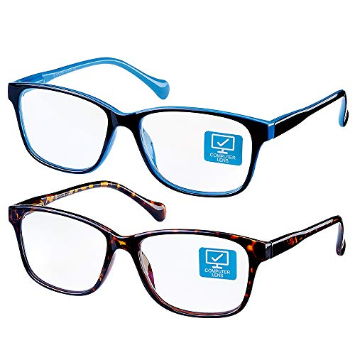 K KENZHOU Blue Light Blocking Computer Glasses 2 Pack Anti Eye Eyestrain Unisex(Men/Women) Glasses with Spring Hinges UV Protection Twilight and Blue