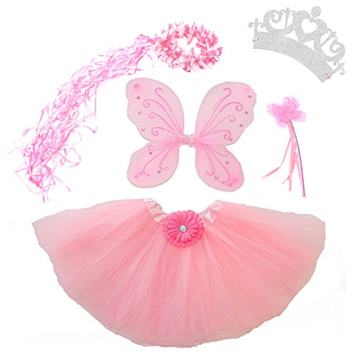 [5 Piece Shimmering Fairy Princess Costume Set (Light Pink)] (Halloween Princess Costumes For Kids)