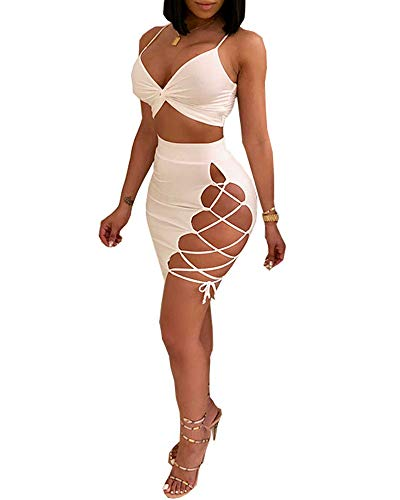 (Kaximil Women's Sleeveless Sexy Club Party Bandage Dresses Spaghetti Strap Two Piece Clubwear Crop Top + Lace Up Skirt, White, Small )