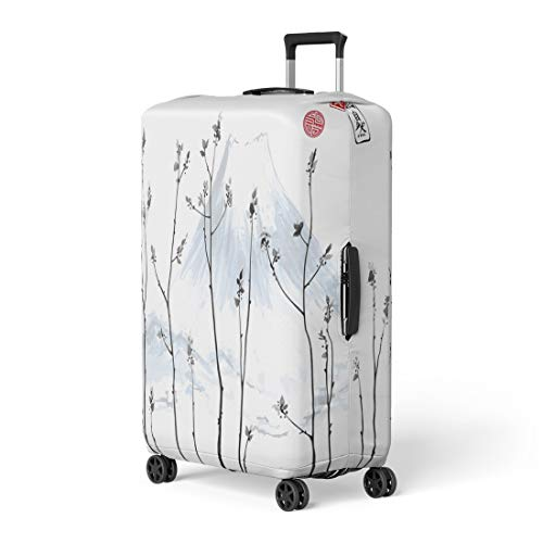 Semtomn Luggage Cover Tree Branches Fresh Leaves and Fujiyama Mountain on Traditional Travel Suitcase Cover Protector Baggage Case Fits 22-24 Inch