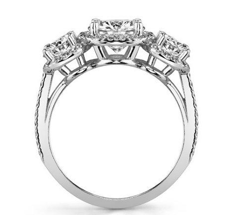 Gowe Schmuckanthony 3carat antique 3Ascd imitation diamant 9K Or blanc diamant Bague de fiançailles de mariage Diamant