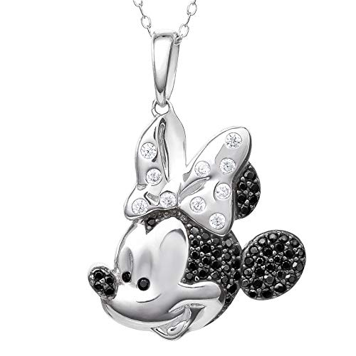 Disney Minnie Mouse Jewelry for Women and Girls, Sterling Silver Two Tone Cubic Zirconia Pendant Necklace, 18 Inch Chain, Mickey's 90th Birthday Anniversary