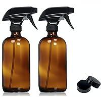 Botellas de aerosol de vidrio de ámbar vacías con etiquetas (paquete de 2) - Recipiente rellenable de 16 oz para aceites esenciales, productos de limpieza o aromaterapia - Rociador de gatillo negro duradero con ajustes de niebla y corrientes