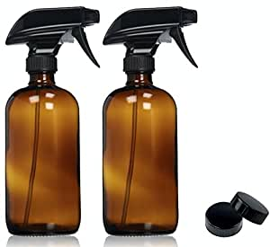 Empty Amber Glass Spray Bottles with Labels (2 Pack) - 16oz Refillable Container for Essential Oils, Cleaning Products, or Aromatherapy - Durable Black Trigger Sprayer w/ Mist and Stream Settings