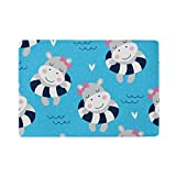 U LIFE Cute Animals Summer Swimming Hippo Passport Cover Holder Case Leather Protector with Slots for Women Men Kids