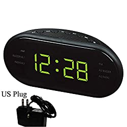 WVRGHQTG LED Digital Alarm Clock AM/FM Radio with Dual Alarms Sleep & Snooze Function Outlet Powered Big Digit Display for Bedroom Yellow US