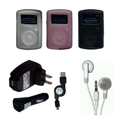 7 items bundle kit accessories for Sandisk Sansa Clip: Black