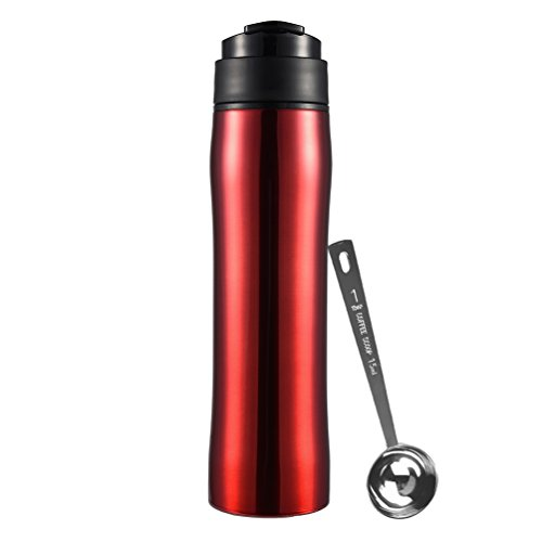 Uarter French Press Coffee Maker Stainless Steel Vacuum Tea Press Makers Portable Insulated Travel Mug Cup for Making Coffee and Tea, Red