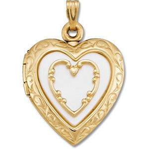 14k Yellow Gold Mother of Pearl Heart Locket by The Men's Jewelry Store (for HER)