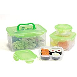 LOCK & LOCK 8-Piece Lunch Box, 4 Containers, Green Lid