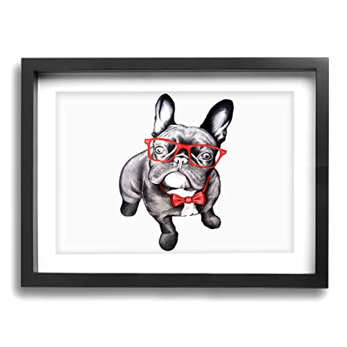 (CLLSHOME 12x16 Inches Wall Decor Toilet Bathroom Framed Art Print Picture French Bulldog with Glass Wall Art for Home Decorations)