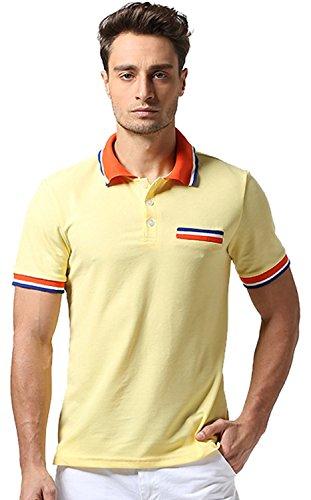 Whatlees Mens Boys Short Sleeve Contrast Stripes Collar Breathable Button Down Golf Office Polo Shirt B467-Yellow-XXL