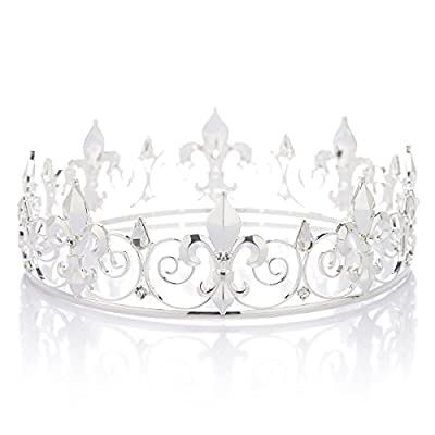 SWEETV Royal Full Round King Crown Crystal Tiara for Men Party Hats Costume Accessories