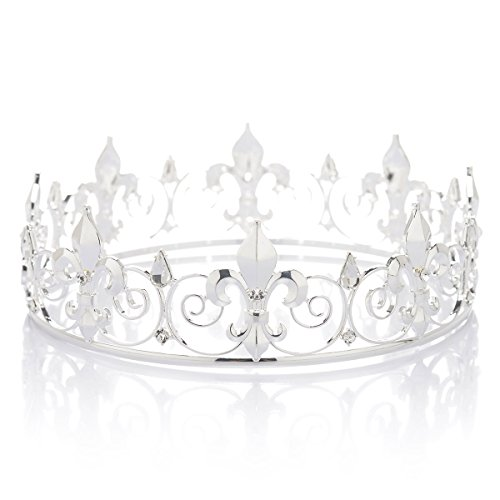 SWEETV Royal Full Round King Crown Crystal Tiara for Men Party Hats Costume Accessories, Silver