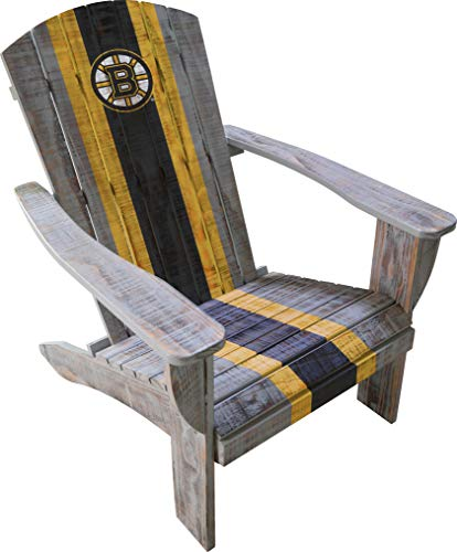 Imperial Officially Licensed NHL Furniture: Distressed Wooden Adirondack Chair, Boston Bruins