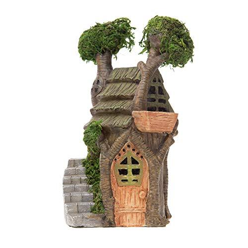 Darice Casa de Hadas de Resina Doble casa de árboles con Acentos de Musgo y Escalera de jardín