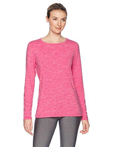 Amazon Essentials Women's Tech Stretch Long-Sleeve T-Shirt, Radiant Raspberry Heather, Small