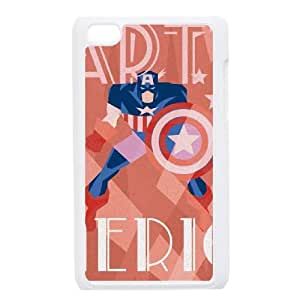 iPod Touch 4 Case White Captain America Noir SUX_913528