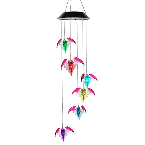 AceList Changing Color Solar Powered Bat Wind Chime Wind Moblie LED Light, Gzero Spiral Spinner Windchime Portable Outdoor Chime for Patio, Deck, Yard, Garden, Home,