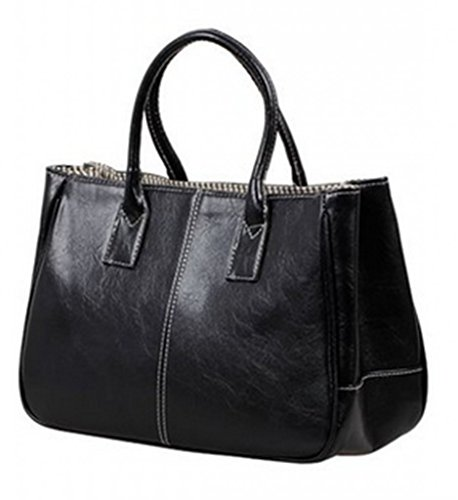 Higawin Damen Fashion Leder Volltonfarbe Handtasche multifunktion tasche Schwarz