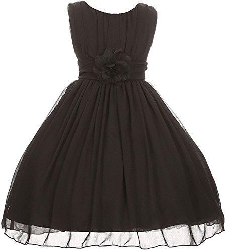 labaqiangj Elegant Dress Yoryu Ruched Round Neck Chiffon Flower Girl Dress for Little Girl Black10 (Ikea Dressers For Cheap)