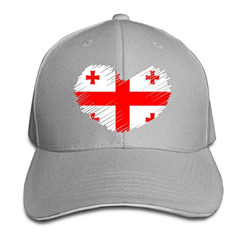 Women's/Men's Georgia Flag in Heart Shape Adult Adjustable Snapback Hats Trucker Cap Gray