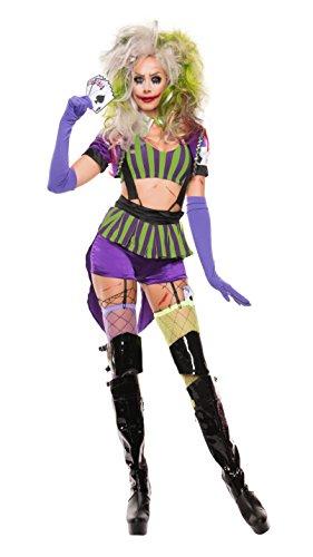 Sexy 5 Piece Costumes (Starline Women's Mad Gambler Sexy 5 Piece Costume Set, Purple/Green, Medium)