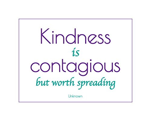 Kindness is Contagious Inspirational Poster Wht/Purple/Turq 16