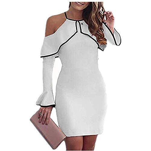 KASAAS Cold Shoulder Halter Dress for Women Solid Bell Sleeve Ladies Stretch Party Evening Bodycon Mini Dresses(XX-Large,White)