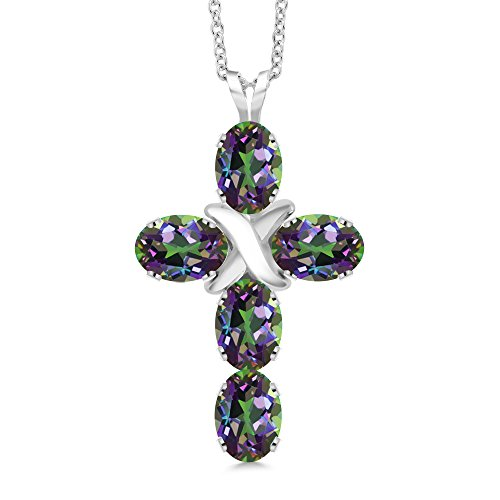 2.75 Ct Oval Green Mystic Topaz 925 Sterling Silver Cross Pendant With 18 Inch Silver -