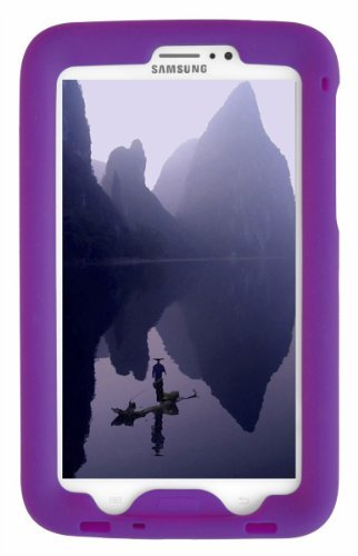 Bobj Rugged Case for Samsung Galaxy Tab 3 7-inch Tablet, Tab3 7-inch Kid's Edition (Not for Tab3 Lite, Tab2) - BobjGear Custom Fit - Sound Amplification - Kid Friendly (Playful Purple)