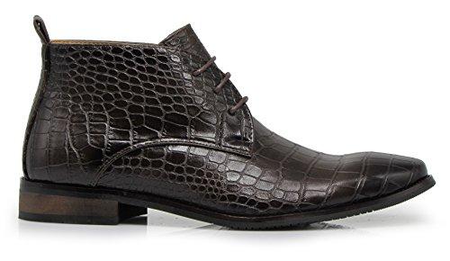 Enzo Romeo Df2 Mens Dress Boots Alligator Stampa Coccodrillo Chelsea Chukka Alla Caviglia Lace Up Moda Stivali Corti Caffè